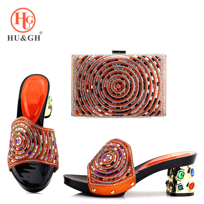 New Rayol Orange Color Italian Shoes with Matching Bags Nigerian Women Wedding Shoes and Bag Set African shoe and bag for party new arrival silver color italian shoes with matching bags shoes and bag set african sets 2018 shoe and bag for wedding party