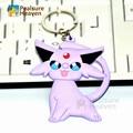 1pcs poke Cartoon Psychic type Espeon action figure toy pvc keychain anime cute key ring pendants
