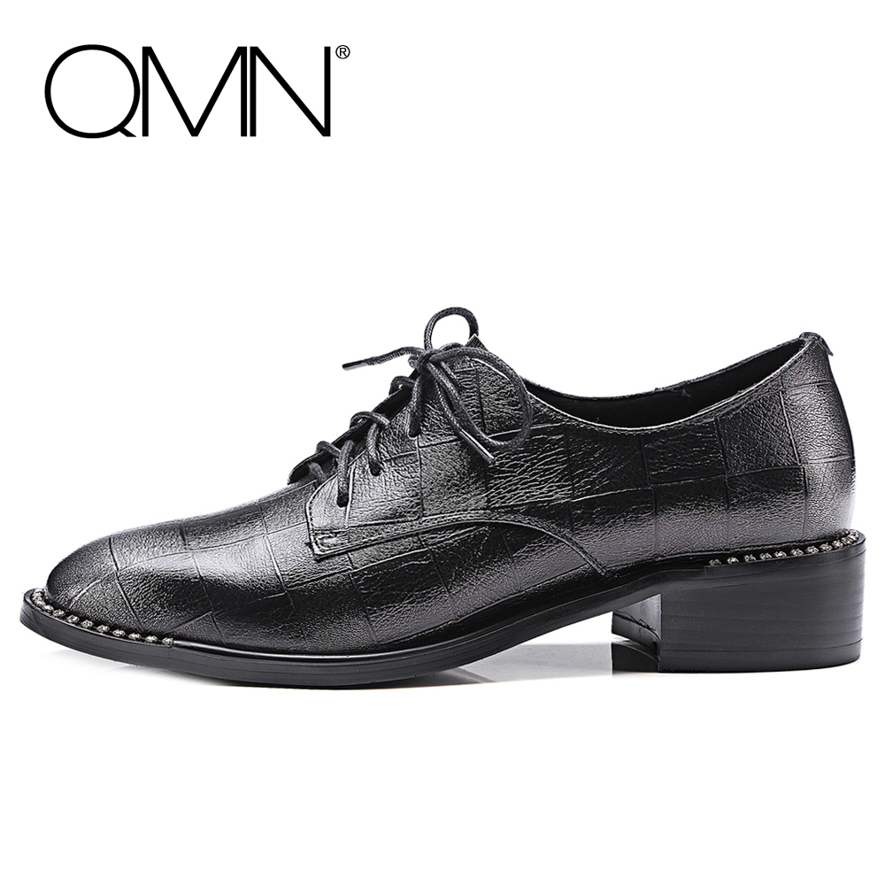 QMN women crystal-trimmed brushed embossed leather brogue shoes Women Square Toe Oxfords Shoes Woman Genuine Leather Flats 34-43 qmn women brushed leather platform brogue shoes women round toe lace up oxfords flat casual shoes woman genuine leather flats