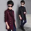 Подростков одежда ребенок шерстяное пальто зима верхняя одежда ребенка утолщение двубортный шерстяное пальто