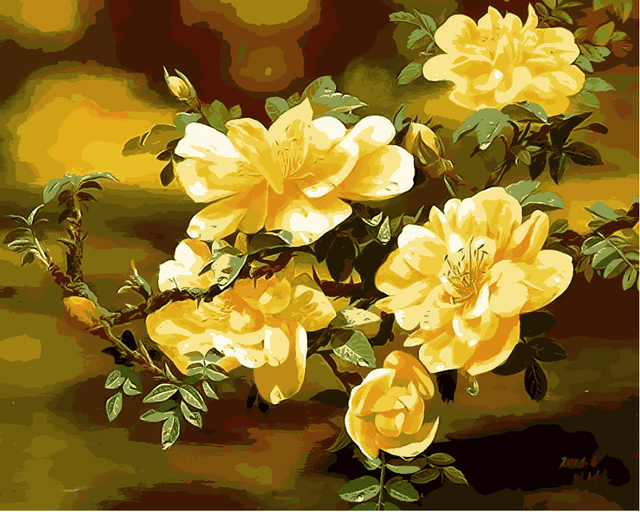 Framed Oil Paint Painting By Numbers Diy Picture Yellow Hibiscus