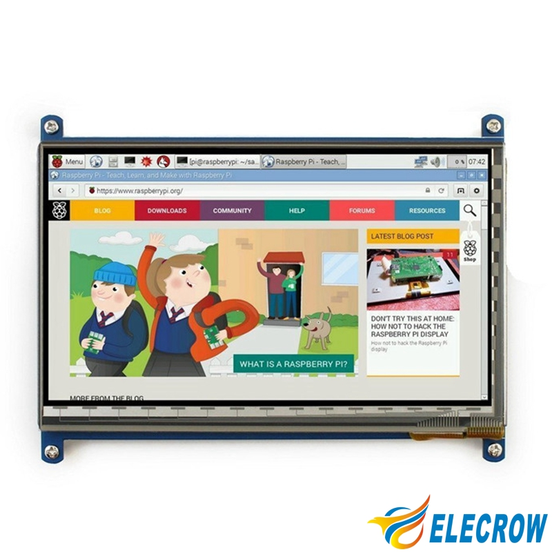 Elecrow Raspberry Pi 3 Display 7 Inch LCD Touch Screen HDMI 1024X600 Monitor for Raspberry Pi