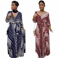 2018 Summer Maxi Dress Women Plus Size Loose Striped Print Dresses
