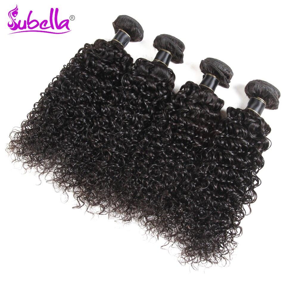 Subella Hair Peruvian Hair Kinky Curly Hair Weave Bundles Natural Color Unprocessed Human Hair Bundles Extension