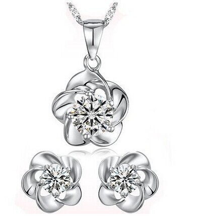 JS S064 Zircon Plum Blossom Silver Jewelry Set High Quality Cheap Fashion Jewelry Sets Nickel Free Gift Set