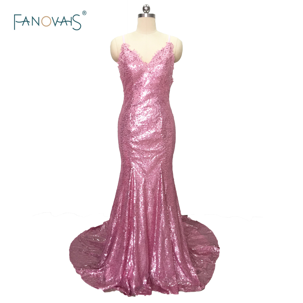 Sexy Pink V-Neck Lace Appliques Bodice Floor Length Long Open Back Sequin Mermaid Prom Dress With Train 2016 Evening Gowns PB07