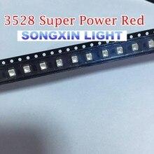 500 шт., 3528 красный светодиод SMD, супер мощный, PLCC 4 видисветодиодный светодиод Tot View 4600 6000mcd 3528 диод с сферической поверхностью