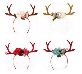 Women Girls Flower Crown Deer Antler Ears Flower Hairband Headband Christmas Party Costume Headbands Holiday Birthday headwear