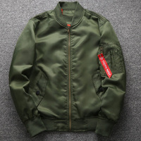 Men's Green Solid Color Armband Ribbon bomber Jacket Outdoor High quality Ma1 Thick Locomotive Green Waterproof Jacket