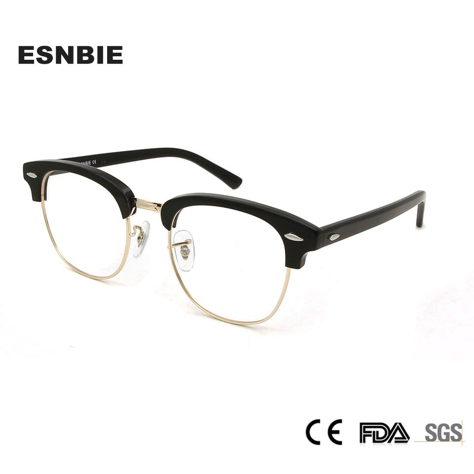 055b2da0d9 High Quality Semi Rimless Glasses Frame Women Club Eyeglasses Frames Men  Round Glasses Clear Lens Half Rimmed Rivet Glasses