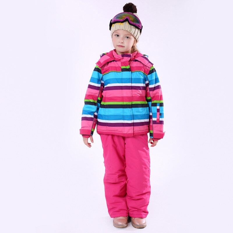 Rayure fille hiver coupe-vent Ski vestes et pantalons enfants Ski costumes ensemble de vêtements enfants neige chaud Ski Costume pour filles Costume