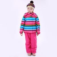 Stripe Girl Winter Windproof Ski Jackets and Pants Children Ski Suits Clothing Set Kids Snow Warm Skiing Suit For Girls Costume
