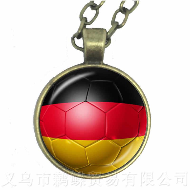 Nueva llegada Rusia, Alemania, Dinamarca, Polonia bandera mundial de fútbol Bandera Nacional collar de logotipo de fútbol Fans regalo de recuerdo
