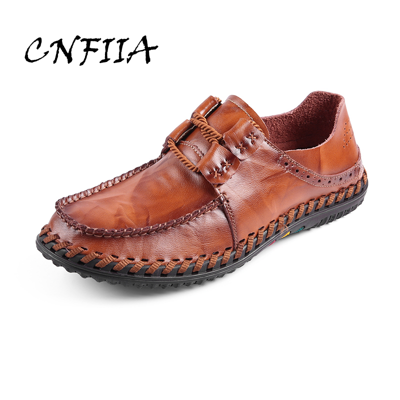 CNFIIA Casual Shoes Men Moccasins 2018 Handmade Male Footwear Fashion Leather Shoes Men Brand High Quality