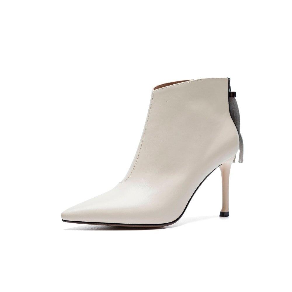 Talons Furtado Mode 2018 Pointu Hauts Bottes Cheville Femme Bout 33 Chaussures Stilettos Automne Zipper Beige Arden Beige black 40 8 Cm Printemps 6CwBqCd