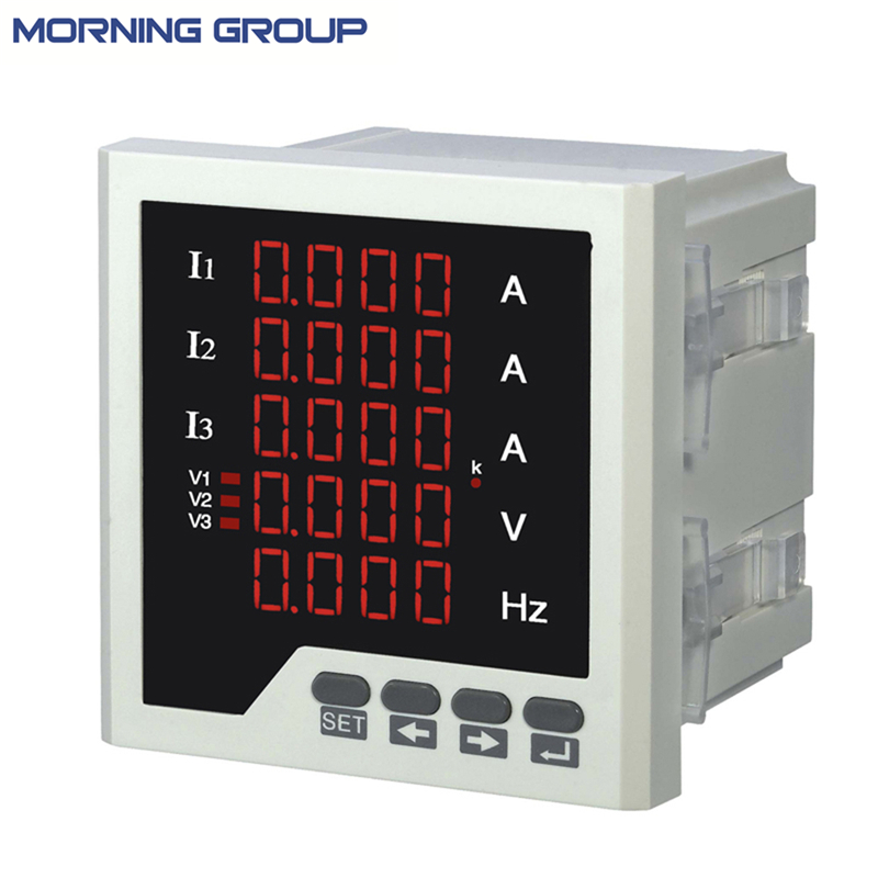 3UIF35 Three Phase Ammeter Voltmeter Cymometer LED Digital Voltage Ampere and Frequency 5 Lines Display Combined Meter 3av73 frame size 80 80mm led digital display ac three phase voltmeter