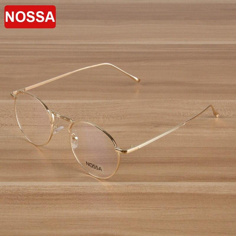 NOSSA Gold Prescription Eyeglasses Frames Elegant Metal Round Optical Frame Women And Men Spectacles Unisex Myopia Glasses Frame