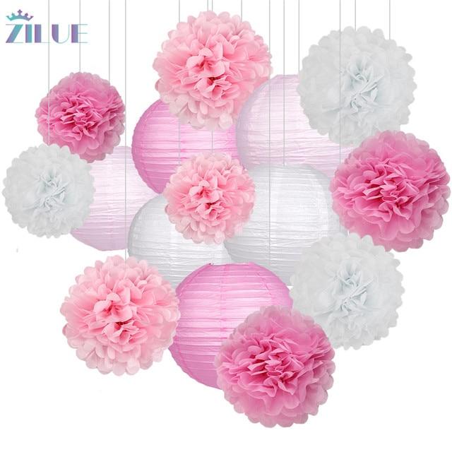 Zilue 15 cái/bộ Hoa Giấy Bóng Poms Giấy Tổ Ong Bóng Đèn Lồng Giấy Sinh Nhật Đám Cưới Bên Trang Trí Nhà Sinh Nhật