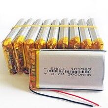 10 pièces 3.7 V 3000 mAh 103565 polymère Lithium LiPo batterie Rechargeable pour GPS PSP DVD E book tablette PC chargeur portatif pour ordinateur portable