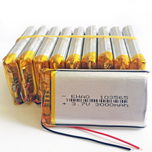 10 stks 3.7 v 3000 mah 103565 Lithium Polymeer LiPo Oplaadbare Batterij Voor PSP GPS DVD E Book Tablet PC Laptop power bank