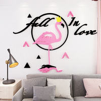 Nordic style Flamingo Acrylic 3D Self adhesive Wall Stickers Ins girl bedroom living room wall decoration painting