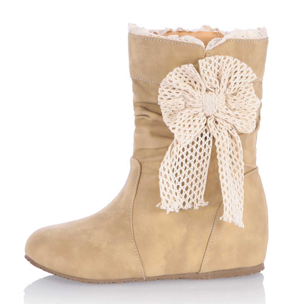 BONJOMARISA Marka Tasarım Katı Düz Artan Papyon Ayakkabı Kadın 2019 Rahat Yumuşak Sonbahar Orta Buzağı Çizmeler Büyük Boy 32-43