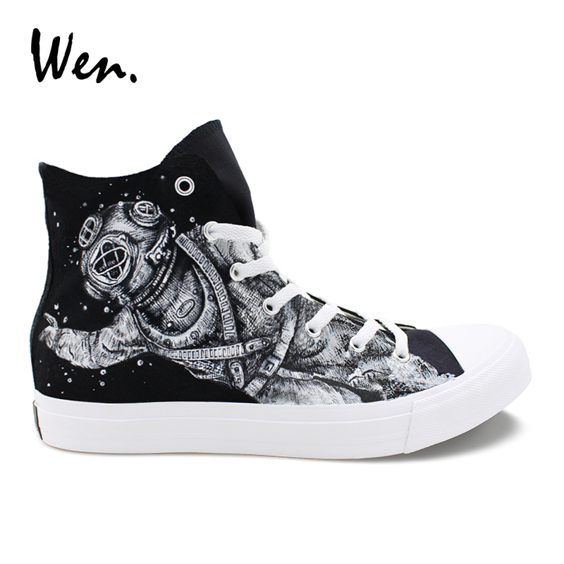 Wen Original Design Outer Space Astronaut Hand Painted Shoes Canvas Sneakers Women Laced Flats High Top Men Plimsolls Footwear wen design custom astronaut outer space moon galaxy hand painted black canvas sneakers high top adults unisex athletic shoes