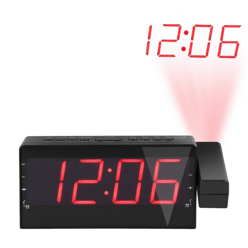 LED Display Digital Radio Alarm Clock Projection Snooze Timer Temperature USB Charge Cable Table Wall FM Radio Clock Z