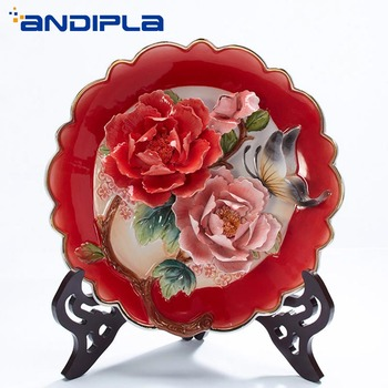 10 inch Creative 3D Peony Flower Decoration Plate with Wooden Base Emboss Ceramic Craft Home Wall Decor Hanging Dishes Adornment