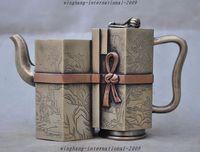 Crafts statue old chinese White copper pine tree man statue taepot Tea set Wine pot Flagon Halloween