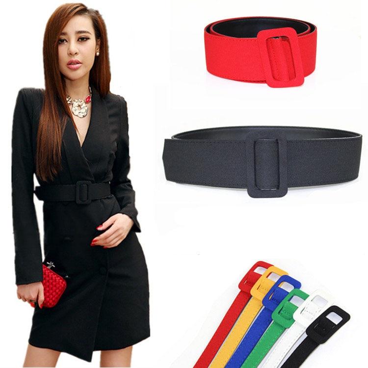 New fashion ladies wide   belts   black red green blue-gray cloth coat for girl popular vintage best dress fabric women's waist   belt