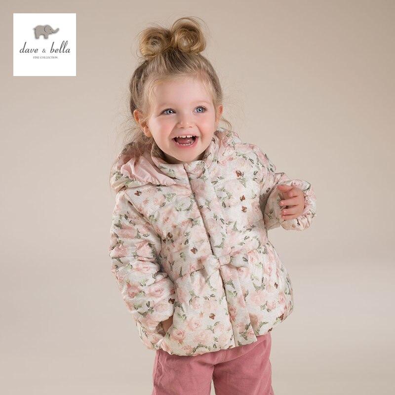 ФОТО DB4673 dave bella winter baby girl flower printed cute  coat hooded padded parka coat
