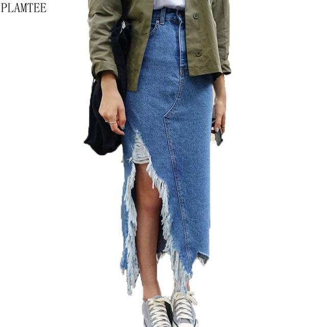 PLAMTEE Asymmetrical Long Maxi Skirts For Women Summer Apparel 2018 Streetwear Style Tassel Jupe Jean Femme Casual Split Rokken