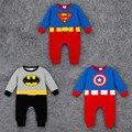 2016 Новорожденных ребенка комбинезон весна длинным рукавом хлопка одежды bebes Мультфильм Супермен и Бэтмен и Капитан Америка младенческой комбинезон