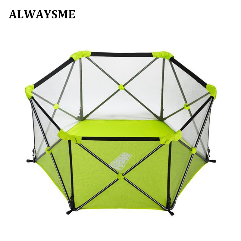 ALWAYSME Baby Toddler Newborn Infant Portable Playard Playpen Activity Center Bumper Space Guard Washable With Travel
