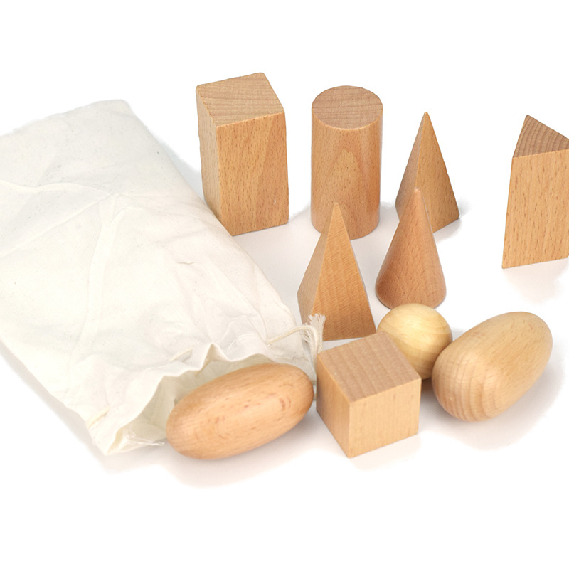Wooden Geometric Solids 3-D Shapes Montessori Learning Education Math Toys Resources For School Home