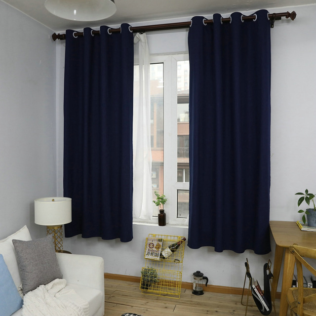 Nordic Style Rope Navy Curtains Solid Cotton Linen Window D For Bedroom Living Room Home
