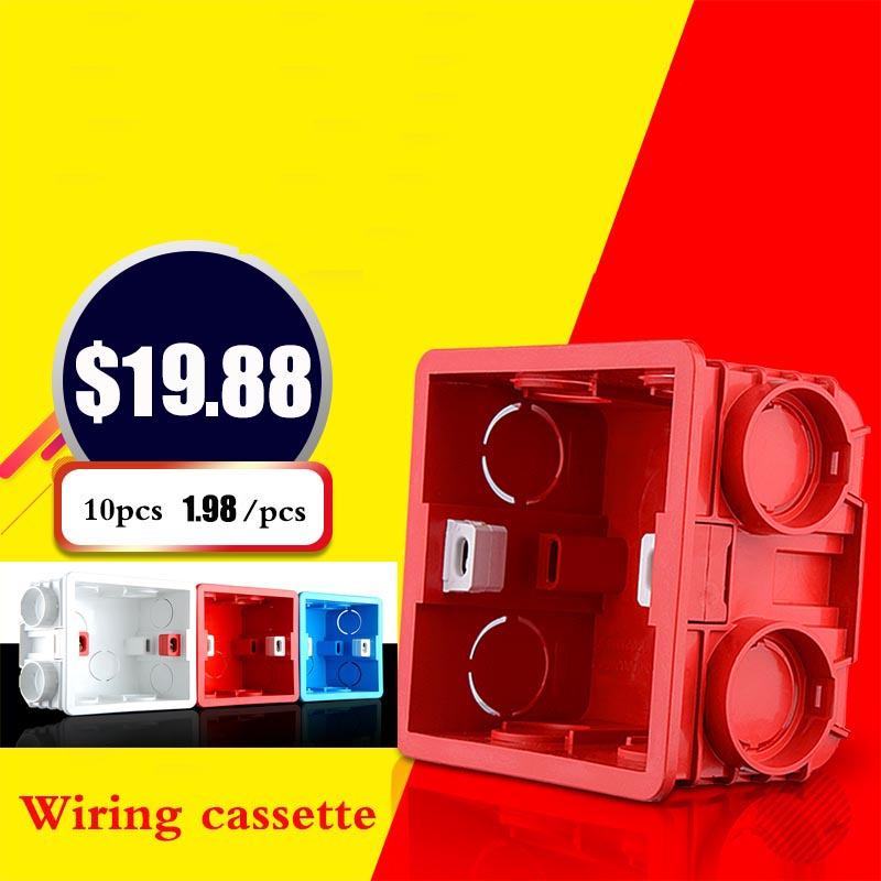 3-color 10 pcs Wiring box bottom box Universal 86 Wall switch bottom fitting concealed embedded wire box