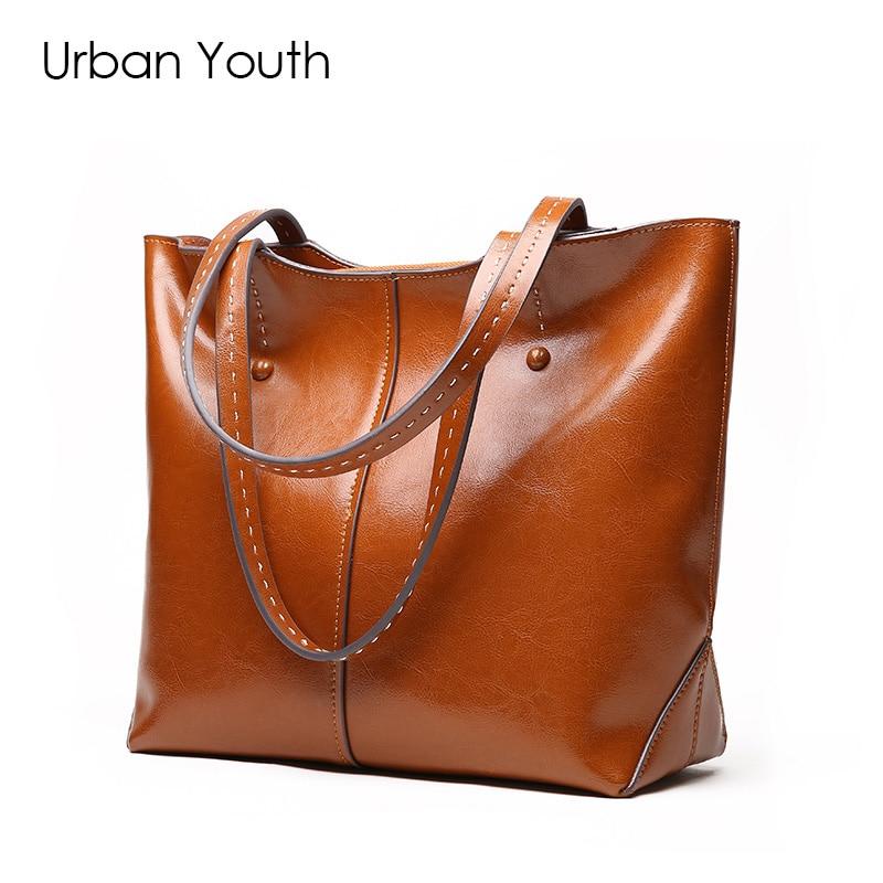 цена  Urban Youth High Quality Genuine Leather Women Shoudler Bag Fashion Female Oil Wax Leather Handbag Tote Bag Travel Shopping Bag  онлайн в 2017 году