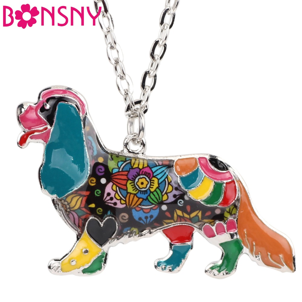Bonsny Statement Collezione DOG Alloy Cavalier King Charles Spaniel Collana con girocollo a catena con colletto pendente Gioielli smaltati Donna
