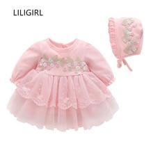 LILIGIRL Long-Sleeve Kids Elegant Dress for Baby Girls Lace Applique Romper+Hat Clothes Princess Hundred Days Party Dresses