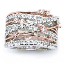 8 сезонов, новая мода, женские серебряные/розовые Золотые круглые кольца, белые стразы, Элегантные Свадебные обручальные кольца, размер 5-10