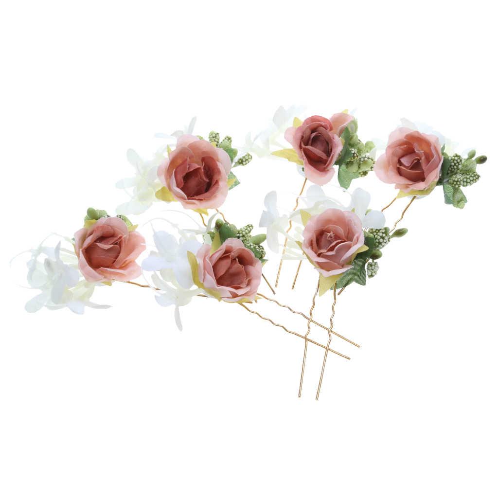 6 шт. Свадебные Цветочные Шпильки Роза палочка для волос Венок Свадебная вечеринка невесты аксессуары для волос невесты