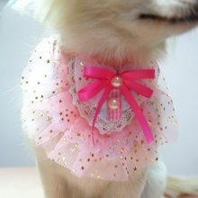 Summer Cute Handmade Pet Collar Necklace Thin Dog Cat Kitten Puppy Girl Costume Decor Triangular Bandanas With Gold Small Stars(China)