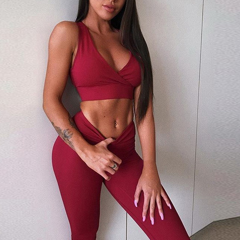 201712e480c95 2018 New Sexy Women Tracksuit Yoga Set Black Crop Top Push Up Sport  Leggings High Waist