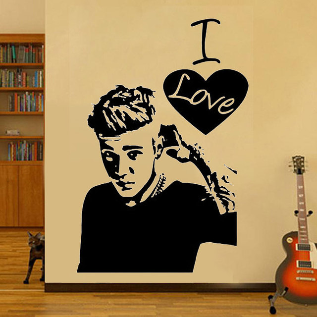 I Love Justin Bieber Wall Sticker Art Celebrity Famous Boys Girls ...