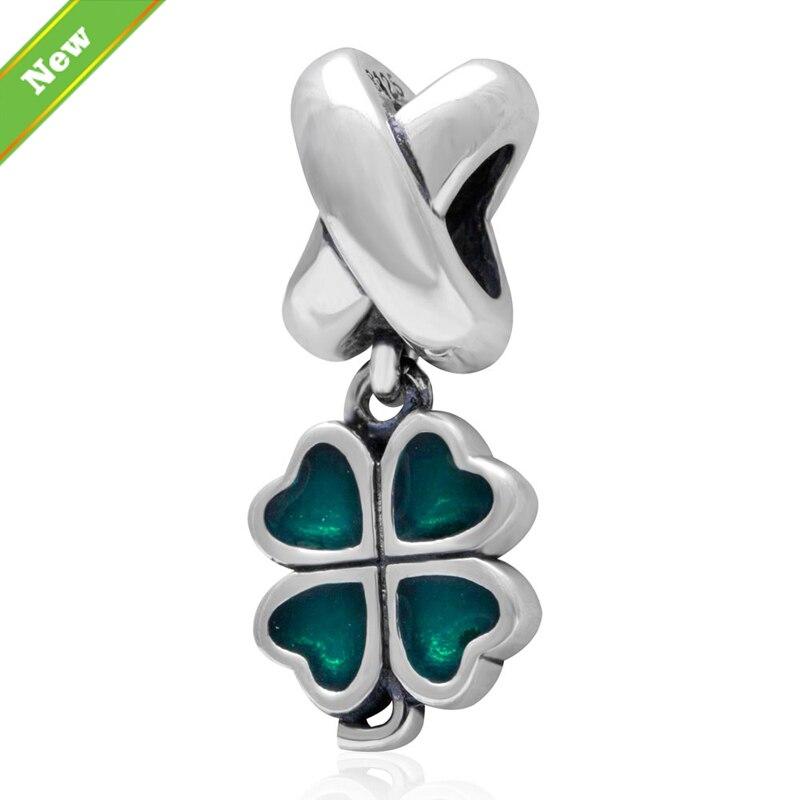 ⓪Esmalte azul trébol de cuatro hojas colgante se adapta a Pandora ...