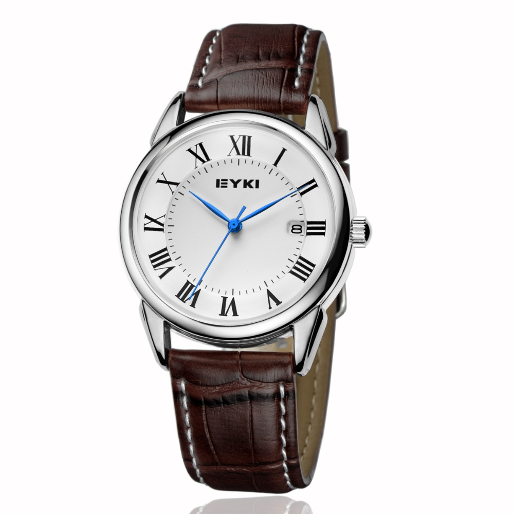 EYKI Men Leather Watches Simple Roman Numeral Dial With Calendar Quartz Watch Waterproof Wristwatch Clock Relogio Reloj