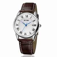 Relojes de Cuero para hombre EYKI esfera Simple con número romano con Reloj de cuarzo calendario Reloj de pulsera a prueba de agua Reloj