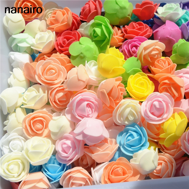 50pcs/Bag Multicolor Mini Rose Head Artificial Flowers For Wedding And Festival Party 3